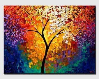 Modern Tree Painting - Modern Abstract Painting - Colorful Textured Blooming Tree Painting - Large Wall Art  by Osnat - MADE-TO-ORDER