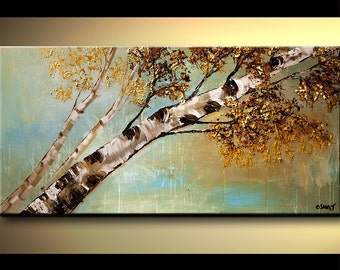 Modern Painting Contemporary Palette Knife Textured Birch Tree Painting by Osnat - MADE-TO-ORDER artwork