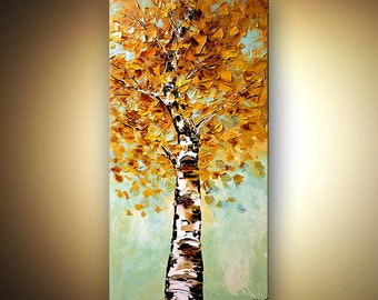 Blooming Birch Tree Landscape Painting Original Textured Abstract Modern Acrylic Blue by Osnat - MADE-TO-ORDER