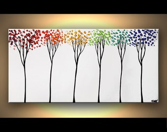Colorful Landscape Painting Colorful Blooming Trees Textured White Background by Osnat - MADE-TO-ORDER