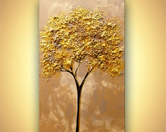 """Gold tree Painting 40"""" x 24"""" Original Abstract Textured Landscape Painting by Osnat"""