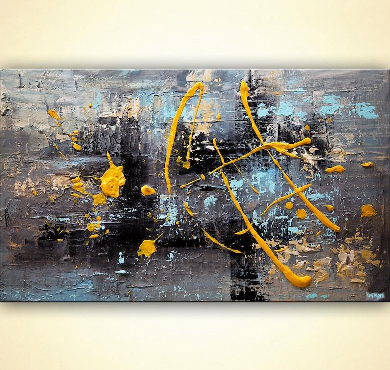 96bae80f31f Original Gray Yellow Abstract art Textured Light Blue Wall