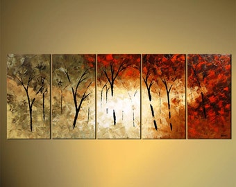 """Forest Blooming Trees Landscape Painting Original Abstract Modern Palette Knife by Osnat - MADE-TO-ORDER - 60""""x24"""""""