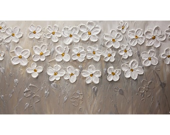 """Textured White Flowers Abstract Painting, Blooming Flowers Painting, Modern Silver White Floral Painting Osnat   60"""" x 30"""""""