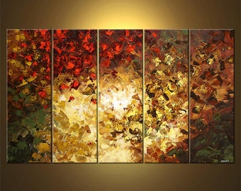 """Landscape Blooming Trees Painting Original Abstract Modern Acrylic by Osnat - MADE-TO-ORDER - 60""""x36"""""""
