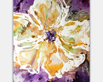 """Big white Flower Abstract Painting, Modern Textured Floral Painting, Purple White Orange  Green Floral Painting by Osnat 48"""""""