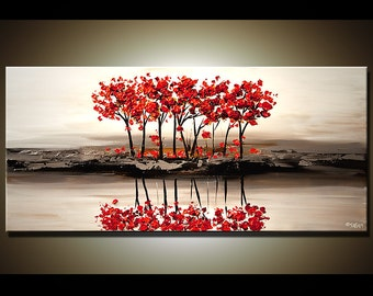Abstract Contemporary Red Blooming Tree Painting Heavy Palette Knife by Osnat - MADE-TO-ORDER artwork