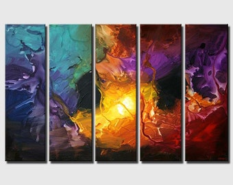 Modern Large Abstract Painting, Modern Wall Art , Large Wall Art, Large Abstract Canvas, Colorful Home Decor Painting by Osnat MADE-TO-ORDER