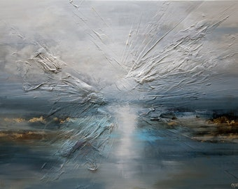 """Modern Abstract Painting, blue gray abstract Painting, Ocean Abstract Painting, Modern Blue Wall Art on Canvas, Fine Art by Osnat 48"""""""