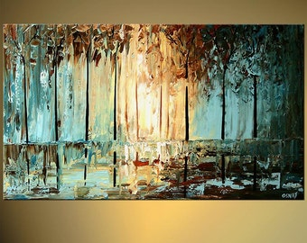 Blue Brown Landscape Abstract Blooming Trees Painting Texture acrylic by Osnat - MADE-TO-ORDER