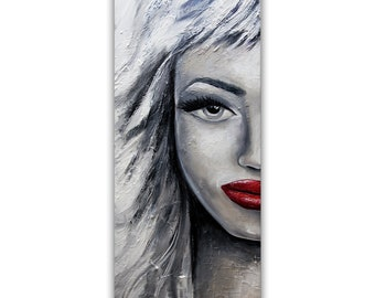 Modern Portrait Painting, Abstract Portrait art, Gray White Red Lips painting, Textured Pop Art by Osnat