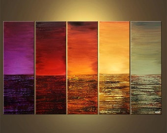 """Modern Landscape Abstract Original Acrylic Painting by Osnat - MADE-TO-ORDER - 60""""x36"""""""