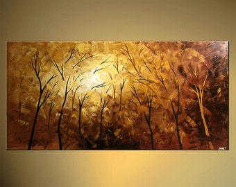 """Original Abstract Contemporary Park Blossom Acrylic Painting Heavy Palette Knife Texture by Osnat Ready to Hang 48"""" - MADE-TO-ORDER"""