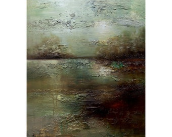 """Big green Landscape Painting, Modern Textured Abstract Painting, Huge Wall Art on Canvas, Fine Art by Osnat 60""""x48"""""""