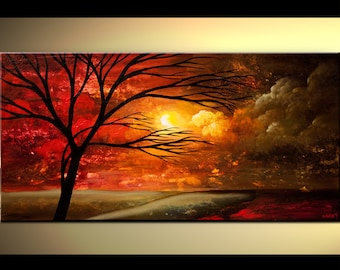 Red Modern Landscape Abstract Tree Painting by Osnat - MADE-TO-ORDER Looking for Something in the Distance