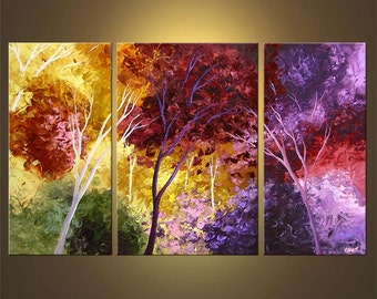 """Landscape Blooming Trees Painting Original Abstract Modern Acrylic by Osnat - MADE-TO-ORDER - 50""""x30"""""""