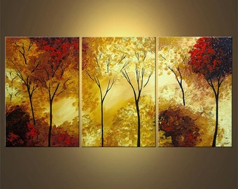 """Landscape Painting Blooming Trees Painting Original Palette Knife Painting 72"""" x 36"""" by Osnat - MADE-TO-ORDER"""