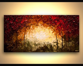 """Landscape Blooming Trees Painting Original Abstract Modern Acrylic by Osnat - MADE-TO-ORDER - 40""""x20"""""""