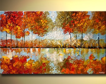 """Landscape Blooming Tree Painting Modern Indian Summer Painting Palette knife by Osnat - MADE-TO-ORDER - 40""""x24"""""""