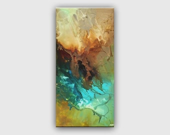 Turquoise Modern Abstract Painting Original Contemporary Teal Fine Art on Canvas Federations by Osnat - MADE-TO-ORDER