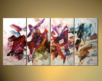 """60"""" Original Acrylic Painting Palette Knife Abstract Purple Orange Red Green White Painting Colorful  by Osnat - MADE-TO-ORDER"""