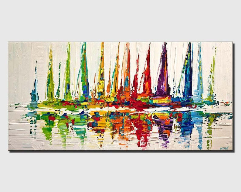 Colorful Sailboats Abstract Acrylic Painting Contemporary image 0