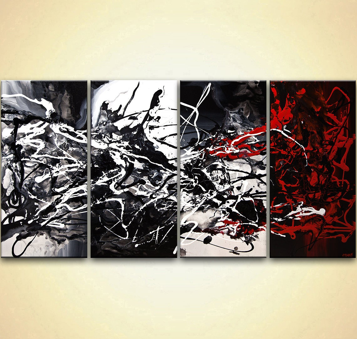 huge black white abstract painting on canvas by osnat tzadok etsy