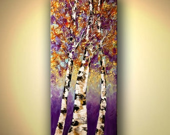 Tree Painting Cherry Tree acrylic Painting Purple, Orange, Light Blues, Rust by Osnat - MADE-TO-ORDER artwork