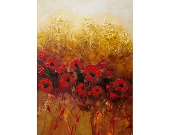 """Red Poppies Abstract Painting, Modern Textured Poppy Flowers Painting, Modern Palette Knife Floral Painting by Osnat 36"""""""