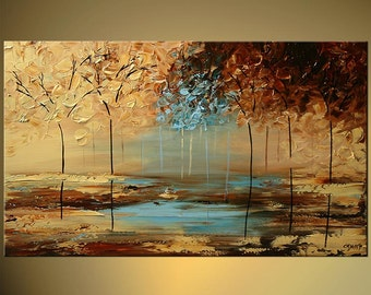 """Modern Landscape Abstract Original Acrylic Painting by Osnat - MADE-TO-ORDER - 40""""x24"""""""
