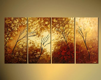 Original Abstract Contemporary The Forest Keepers Acrylic Painting Heavy Palette Knife Texture by Osnat  - Made-To-Order