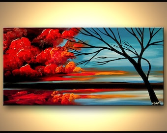 Modern Landscape Painting Abstract Blue Red Tree Painting Original Acrylic Painting by Osnat - MADE-TO-ORDER artwork