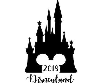 2018 Disney SVG Cut File 2018 Disneyland Cinderella Castle Digital file Svg Dxf Mickey outlined for Silhouette Cricut