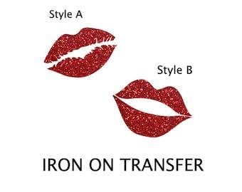 Lips Iron on, Kiss Iron on Transfer, Glitter Red Lips Iron on Patch, Red lips iron on decal, christmas iron on