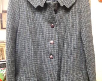 Vintage Harris Tweed Woman's  Wool Coat - Size Medium