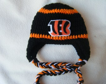 Crocheted Bengals Inspired Team Colors or (Choose your team) Football  Helmet Baby Beanie hat - Made to Order - Handmade by Me e1f3af259