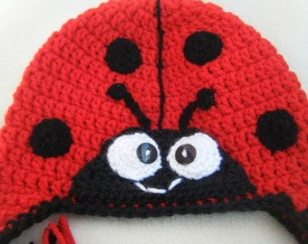 f9d4e2548cd Crocheted Adorable LadyBug Hat Sized Baby to Adult - Handmade By Me
