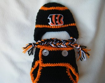 Crocheted Bengals Inspired Team Colors Hat   Diaper Cover (Or Choose  Another Team) These Are Made to Order 019d31308
