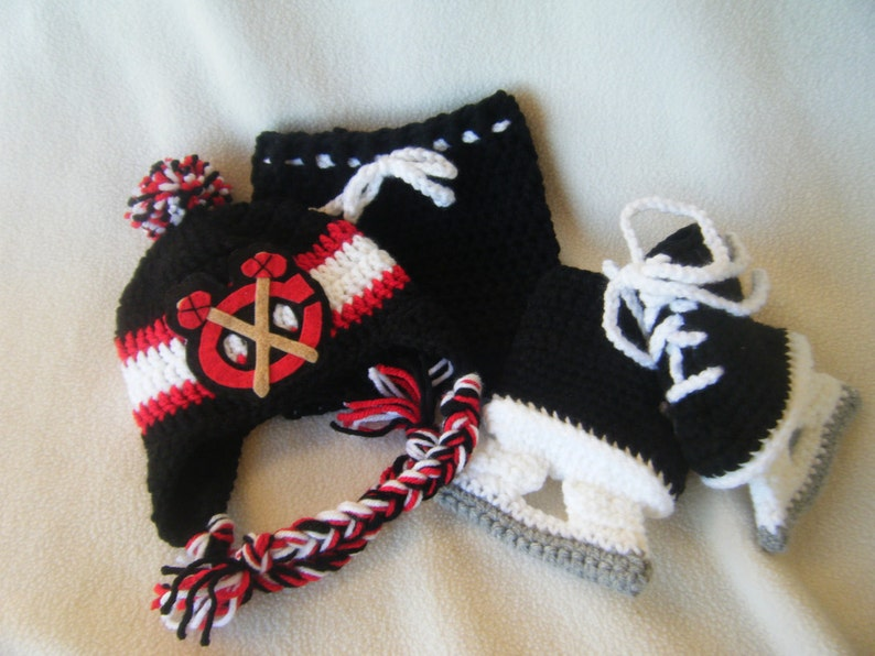 Crocheted Blackhawks Hat /& Short Pants Set These Are Made to Order