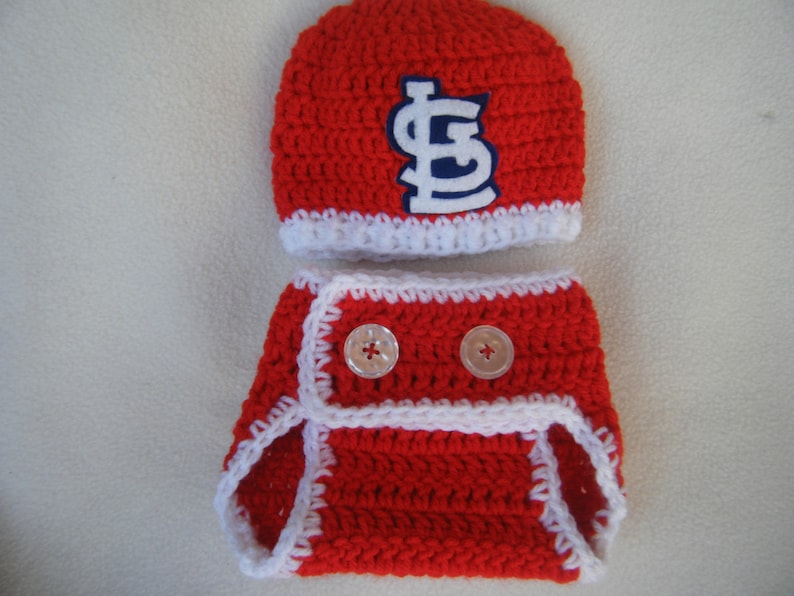 1be318b0 Crocheted Cardinals Inspired Baseball Beanie/Hat and Diaper Cover - MADE TO  ORDER - Handmade by Me