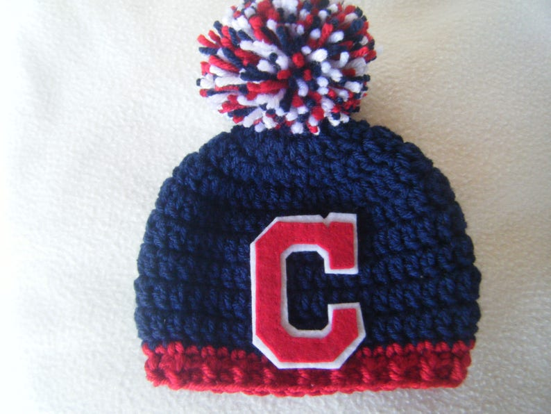 20a2919f Crocheted Cleveland Indians Inspired Baseball Beanie/Hat - MADE TO ORDER -  Handmade by Me