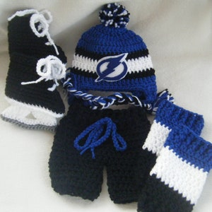 Crocheted Inspired Pittsburgh Penguins Hat Short Pants /& Hockey Skates Booties Set These Are Made to Order