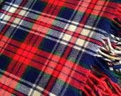 Vintage Troy Leisure Blanket - Vintage Wool TartanPlaid - Large Stadium Blanket 72 quot x 56 quot - American Made in USA