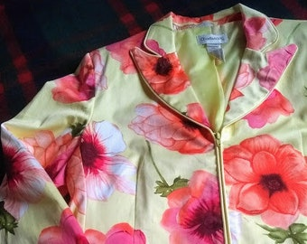 b434618798d Vintage Floral Jacket - Chadwick 1990s - Cotton Blend Lined Zip Fitted  Blazer - Ladies Size 14 -