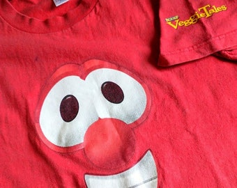 Vintage Veggie Tales - Bob The Tomato Big Face Shirt - Unisex Adult Small - American Made in USA