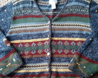 e8bdfd7d5f3db Vintage Christopher Banks Sweater- 1980s Oversize Chunky Cardigan - Hand  Embroidered - Ladies XL