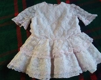 American Made in USA Lace ToddlerDress CLOSEOUT !! Pale Pink Ruffles Approx Size 2T