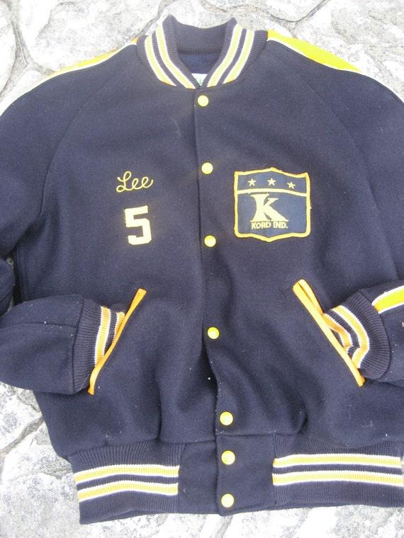 Marine Varsity Jacke blau College Letterman Mantel Baseball