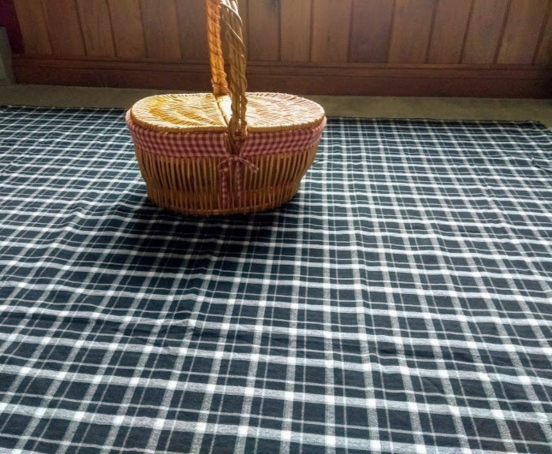 Plaid Table Cloth  Black and White Hefty Cotton Fabric  image 1