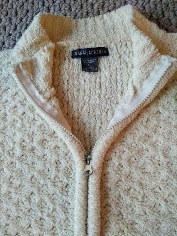 80s Sweatshirts, Sweaters, Vests | Women Vintage Chenille Sweater Jacket - 2 Way Zipper Ladies Large $20.00 AT vintagedancer.com